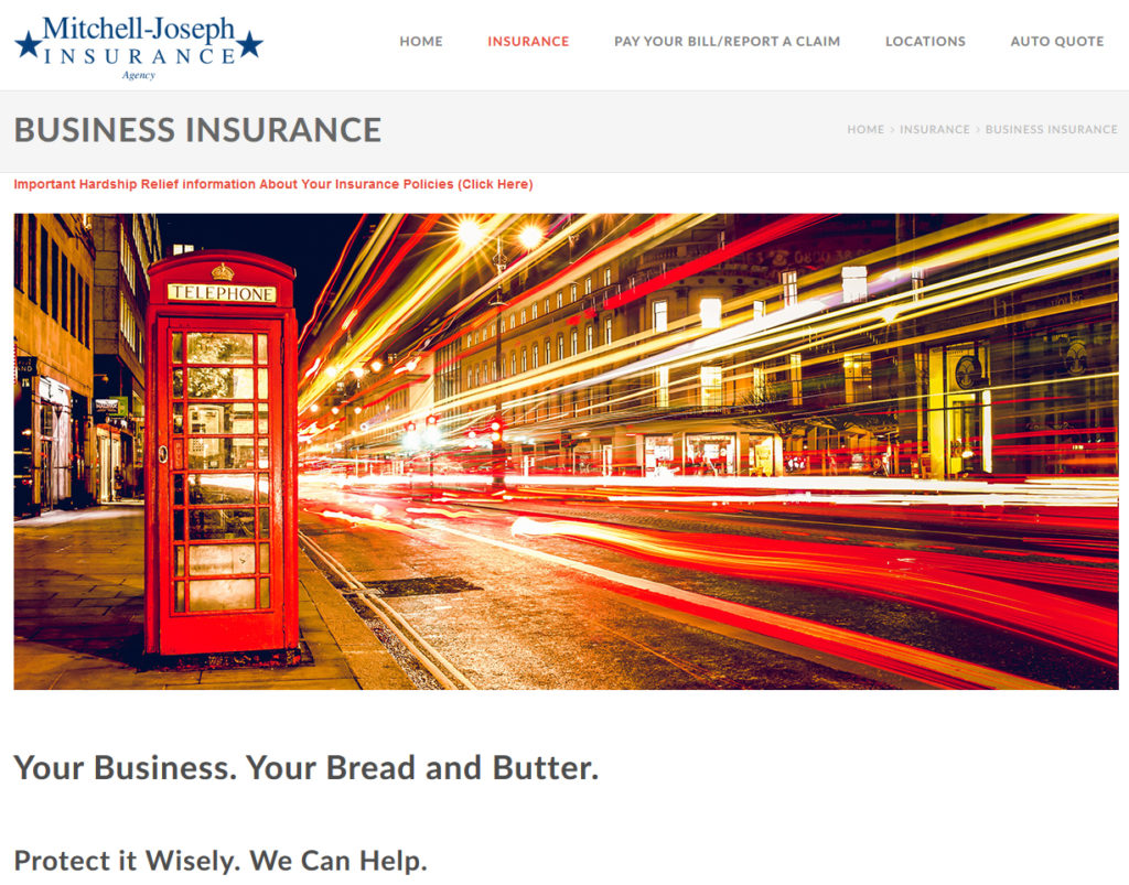 Mitchell-Joseph Insurance Website Screenshot